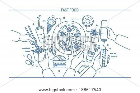 Horizontal advertising banner with fastfood. Composition with products hot dog with mustard, pizza, noodles, donut, ice cream, french fries, burger, ola. Monochrome vector lineart illustration