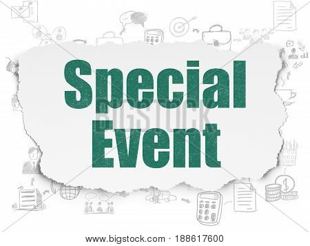 Business concept: Painted green text Special Event on Torn Paper background with Scheme Of Hand Drawn Business Icons