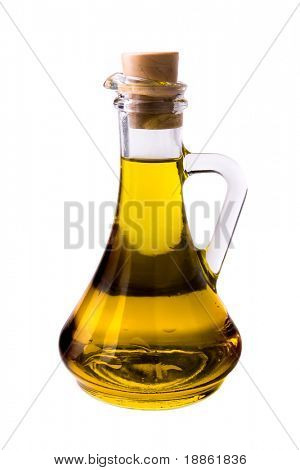 Olive oil in a traditional bottle isolated on white