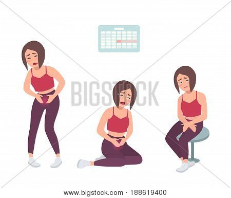Concept of painful menstruation. Woman feel uncomfortable, suffers with stomach ache. Colorful vector illustration in cartoon style
