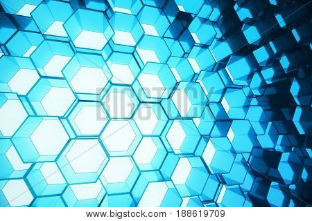 Abstract blue of futuristic surface hexagon pattern, hexagonal honeycomb with light rays. 3D Rendering