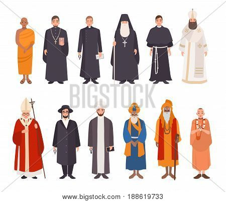 Set of religion people. Different characters collection buddhist monk, christian priests, patriarchs, rabbi judaist, muslim mullah, sikh, hindu leader, krishnaite. Colorful vector illustration