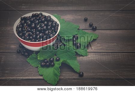 Fresh black currants bowl on rustic wood background. Natural organic berries with green leaves scattered on weathered grey wooden table, dark filter