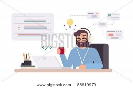 Web-developer works on laptop. Horizontal banner with young programmer on job. Colorful vector illustration in flat style