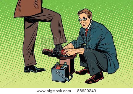 businessman Shoe Shiner. Pop art retro vector illustration poster
