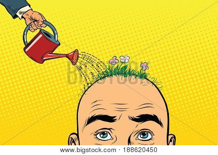 On the head of a bald man grow flowers. Watering can pours water on the flower bed. Pop art retro vector illustration