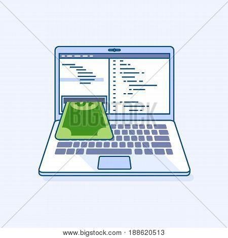 Flat line illustration of freelance programming code income earnings online work laptop or notebook atm cash machine gives money dollar cash banknote. Digital eCommerce business finance concept