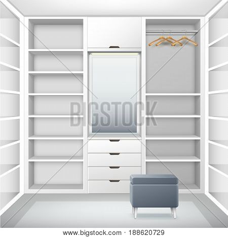 Vector white empty cloakroom with shelves, drawers, hangers, mirror and gray pouf front view