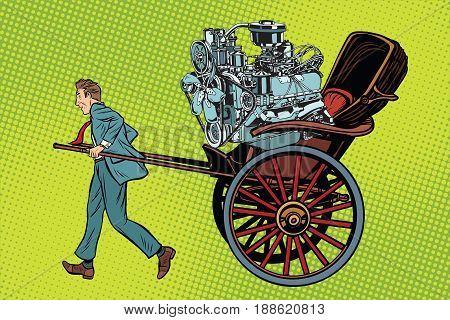Manual labor vs mechanical, rickshaw carries motor. Pop art retro vector illustration
