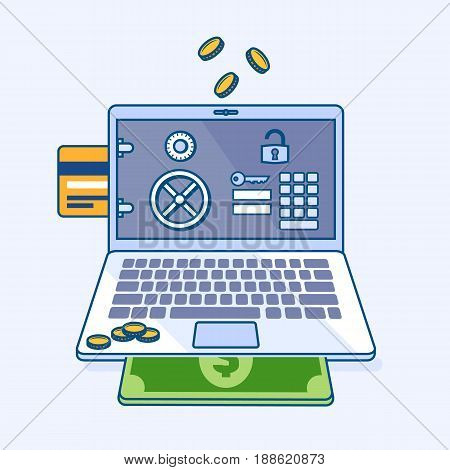 Flat line illustration of online internet security banking safe with personal account page on laptop notebook and coins credit card money dollar cash banknote. Digital eCommerce business concept