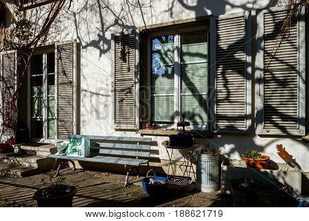 Calm Yard Of Little City House, Beautiful Shadows On The Wall, Bern, Switzerland