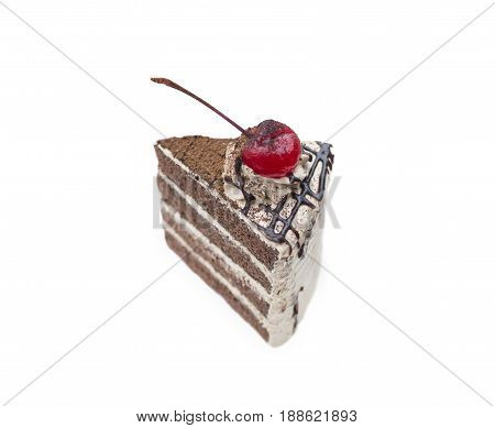 chocolate cake with cherry topping isolated on white background(clipping path)