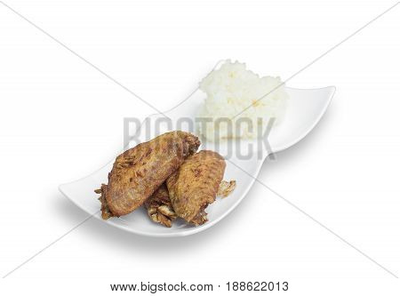 Fried chicken wings and crispy garlic with sticky rice isolated on white background