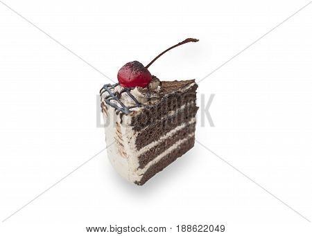 chocolate cake with cherry topping isolated on white background (clipping path)