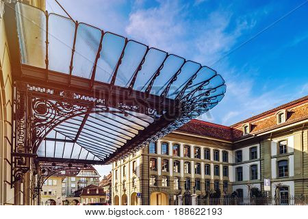Glass Roof Over The House Entrance In Bern, Switzerland, Art Deco Style