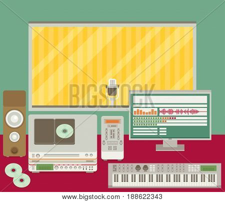 Professional radio station studio with microphone and other equipment on table flat vector illustration