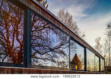 Modern House With Long Glass Wall, Mirror Glazing, Sunset