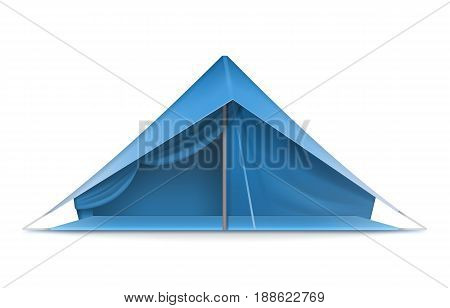 Vector blue tourist tent for travel and camping front view isolated on white background