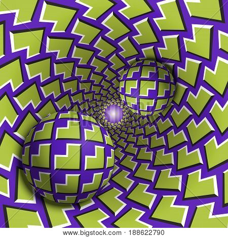 Optical illusion illustration. Two balls are moving in mottled hole. Green corners on purple pattern objects. Abstract fantasy in a surreal style.