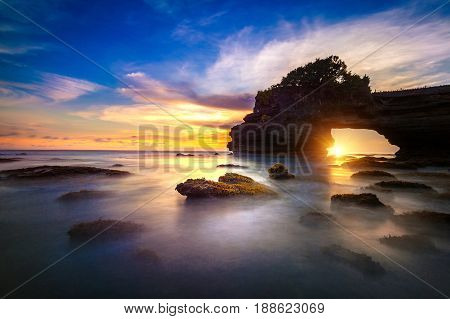 Tanah Lot Temple At Sunset In Bali, Indonesia.(dark)