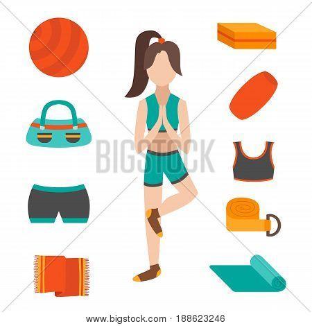 Vector Cartoon Flat Yoga Character And Equipment