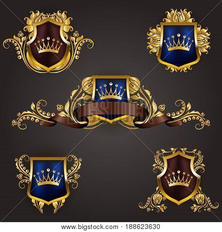 Set of golden royal shields with floral elements, ribbons, for page, web design. Old frame, border, crown, divider in vintage style for label, emblem, badge, logo. Illustration EPS10