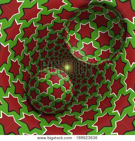 Optical illusion illustration. Two balls are moving in mottled hole. Red stars on green pattern objects. Abstract fantasy in a surreal style.