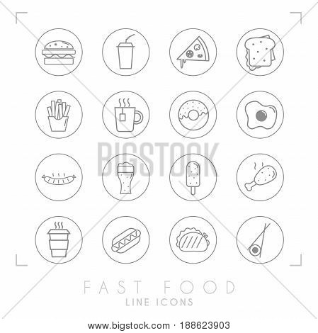 Set of line fast food icons in line circles. Flat style. Coffee hamburger pizza sandwich fried potato tea donut egg grilled sausage beer ice cream chicken hot dog tacos sushi roll