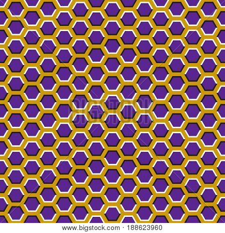 Optical motion illusion seamless pattern. Purple hexagons move on yellow background.