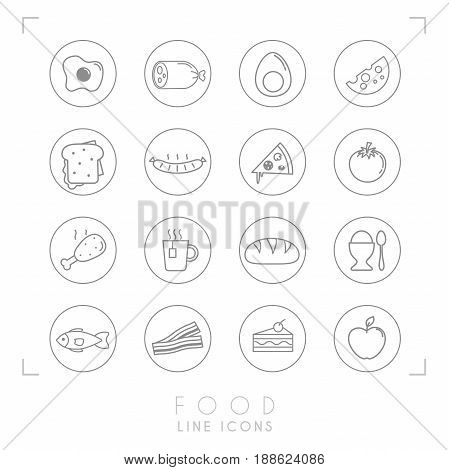 Set of line daily food icons in line circles. Flat style. Fried egg sausage boiled egg cheese sandwich pizza tomato chicken leg cup of tea bread egg fish bacon cake apple