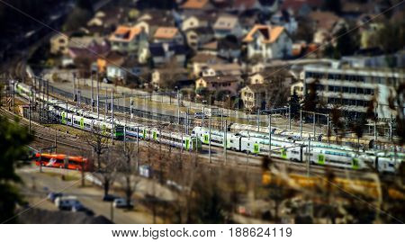 Miniature Aerial View Of Big Railway Station