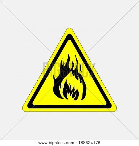 fire alarm sign yellow triangle flammable substance fire fully editable vector image