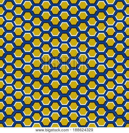 Optical motion illusion seamless pattern. Yellow hexagons move on blue background.