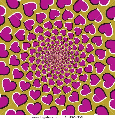 Optical motion illusion vector background. Pink hearts fly apart circularly from the center on golden background.