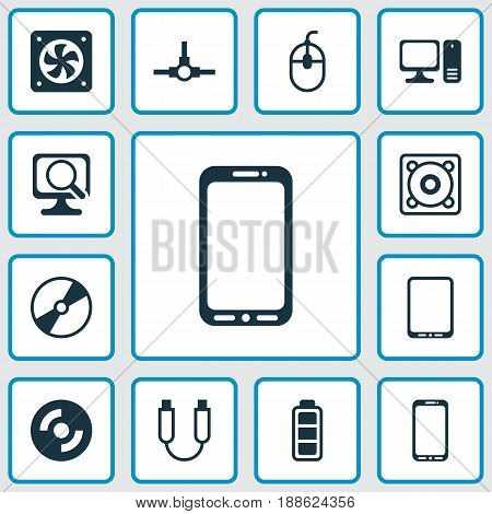 Hardware Icons Set. Collection Of Portable Memory, Blank Cd, Smartphone And Other Elements. Also Includes Symbols Such As Ventilator, Desktop, Mouse.