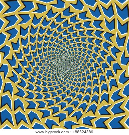 Optical motion illusion vector background. Blue arrows flock together circularly from the center on yellow background.