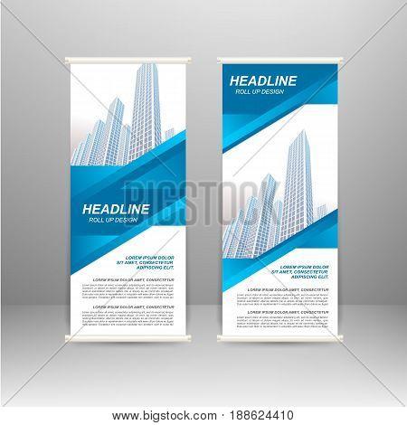Roll up banner stand design. For advertisement poster brochure presentation business template Vector illustration