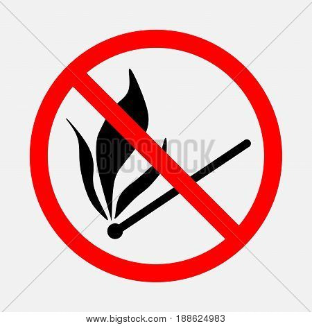 No sign of fire no flames hpichki banned the burning of prohibited no burning matches editable vector image