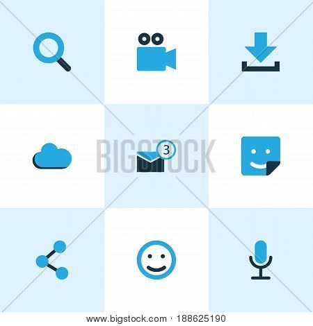 Social Colorful Icons Set. Collection Of Share, Smile, Microphone And Other Elements. Also Includes Symbols Such As Microphone, Camcorder, Overcast.
