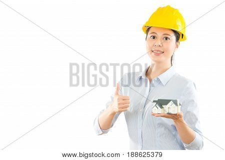 Photo Of Thumbing Up Young Lady Architect