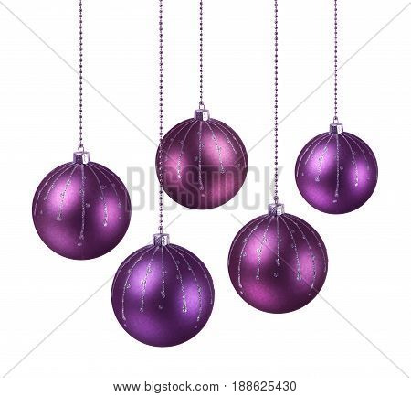 Purple shaded Christmas balls hanging white background