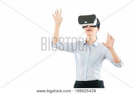 Woman Working Wearing Virtual Reality Glasses