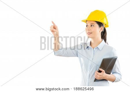 Smiling Woman Builder In Safety Helmet