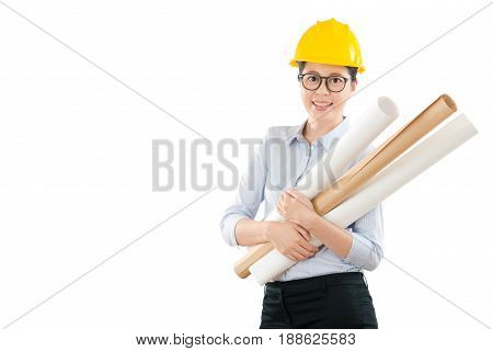 Woman Developer Holding With Many Blueprint