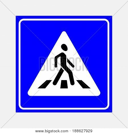 road sign the crosswalk walking man on a blue background fully editable vector image