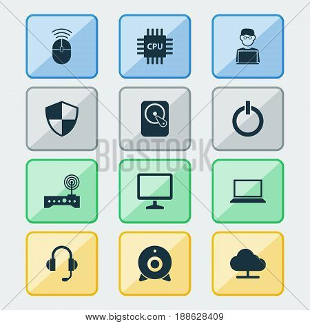 Computer Icons Set. Collection Of Laptop, Earphone, Hdd And Other Elements. Also Includes Symbols Such As Microphone, Camera, Notebook.