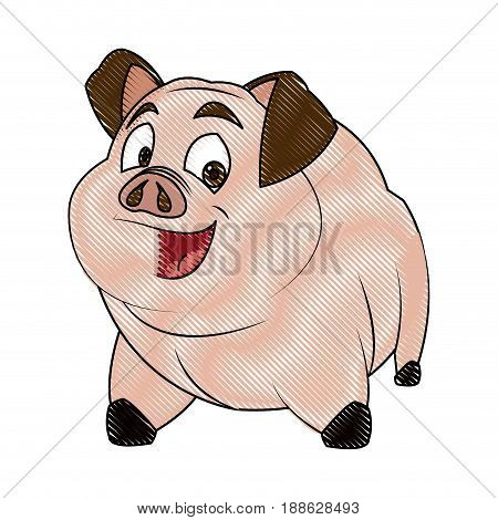 pig character, farm animal domestic image illustration vector