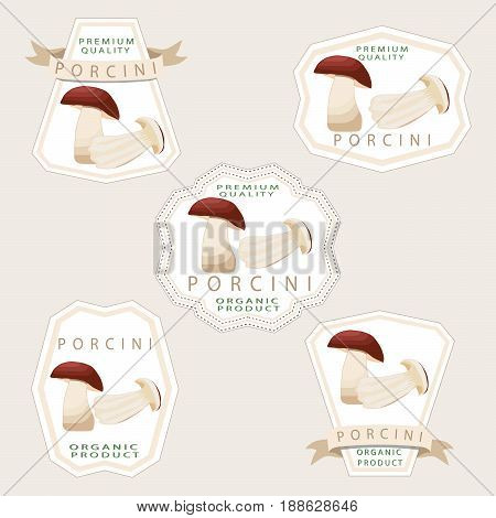 Abstract vector illustration of logo for whole ripe white mushroom porcini cut sliced product on background.Mushroom drawing consisting of tag label twine rope ripe food.Eating fresh porcini mushrooms