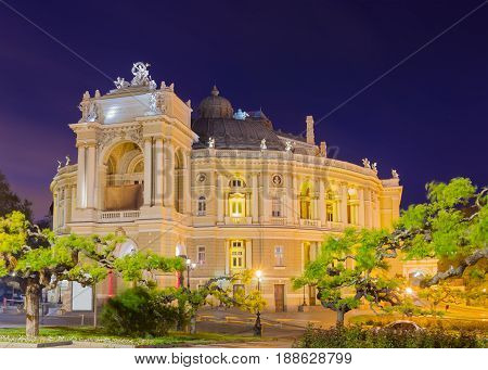 Night view of the Odessa Opera and Ballet Theater building built in the 19th century in spring in windy weather Ukraine