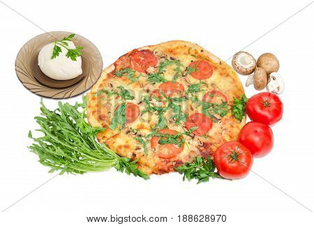 Cooked round pizza with tomatoes mushrooms and arugula mozzarella cheese fresh tomatoes mushrooms parsley and bunch of arugula beside on a light background